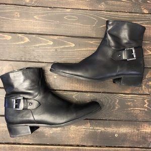 Schutz Black Ankle Boots with Buckle